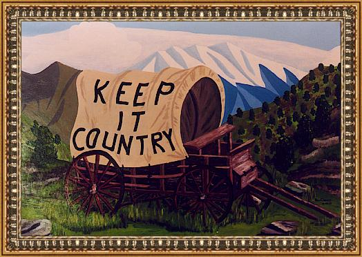 Keep it country, acrylverf op hout 60 x 100 cm (15-04-2000 in opdracht voor een countryband).